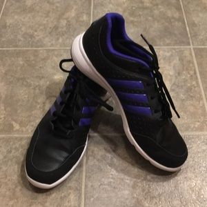 Women's black and purple Adidas sneakers